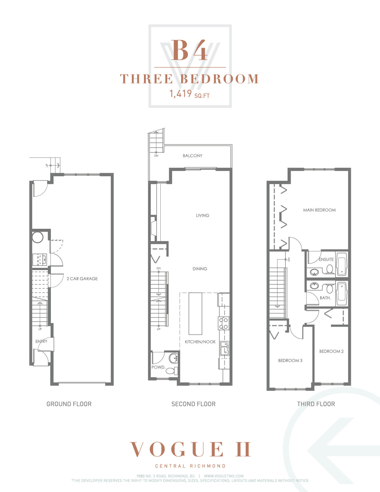 Vogue 12 stylish townhomes for Landcraft homes floor plans